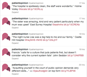 Patient opinion tweets