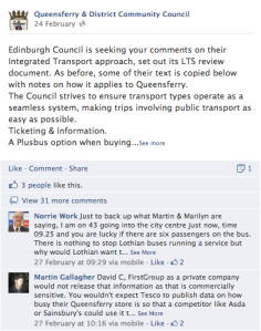 An example of some of the comments and discussions on Queensferry's page